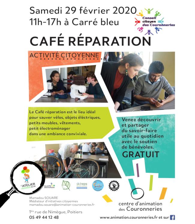 Café Réparation aux Couronneries à Poitiers, le 29 février 2020, avec la participation de l'Atelier du 19.